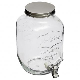 Getränkespender, Saftspender, Dispenser, ein Glas mit einem Wasserhahn 4L