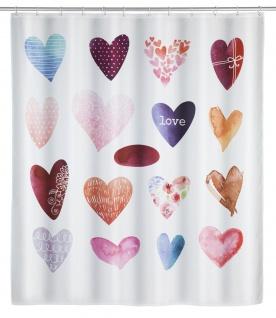 LOVE Duschvorhang mit Aufdruck, wasserdichter Badvorhang + 12 Ringe - 180 x 200 cm - WENKO