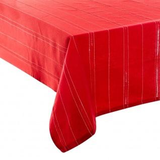 Tischdecke aus Baumwolle, Grau mit Durchbrochenen Streifen Lurex, silberfarben, 140 x 360 cm - Fééric Lights and Christmas