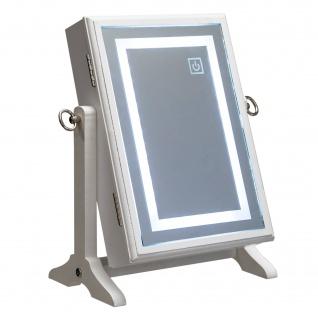 Schmuckkästchen mit Spiegel und LED-Beleuchtung, weiß