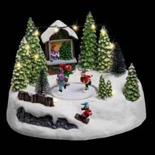 Weihnachtsszene mit Schlittschuhläufern, LED-Beleuchtung