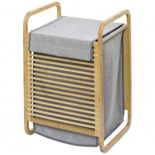 Wäschekorb mit Bambusrahmen und Griffen, Wäschesack - 40 x 60 x 35 cm, WENKO