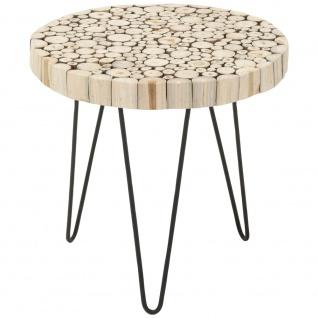 Beistelltisch, Tisch aus natürlichem Teakholz - rund, Kaffee, Ø 50 cm