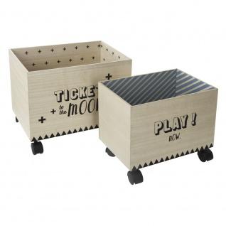Unterbettbox mit Rollen, Aufbewahrungsbox, Holzkiste, Holzbehälter, Container