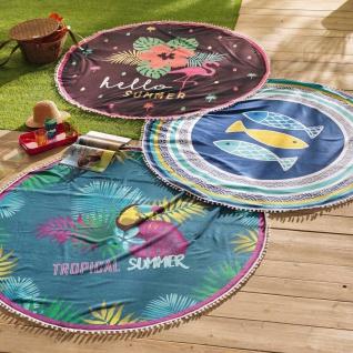 Strandtuch, rund, IBIZA, Ø 150 cm, schwarz mit Flamingo