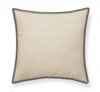 Deko-Kissen GYPSET, Baumwolle, 50 x 50 cm, beige mit grauem Rand