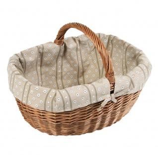 Einkaufskorb, Weide mit Baumwolleinsatz, Farbe braun, Kesper - Kesper