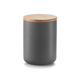 Zeller Vorratsdose mit Bamboodeckel, 650 ml, Keramik, 10 x 10 x 13, 5 cm