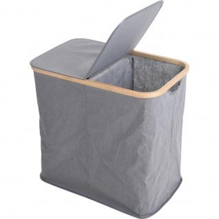 Wäschesack, Schmutzleinen, Textilbehälter mit Bambusrand, 2 Fächer - Storagesolutions