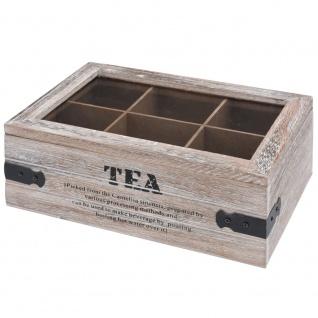 Teekiste Holz Teebox 6 Fächer mit Glasdeckel
