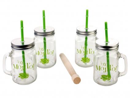 Trinkgläser, 4 Tassen mit Strohhalmen und Stößel aus Holz