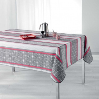 Tischdecke, rechteckig, FELIZ CORAL, 150 x 240 cm, weiß-grau