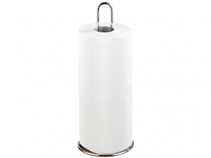 Küchenrollenhalter, verchromtes Metall, 12 x 32 x 12 cm, Silber glänzend