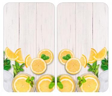Hitzebeständige Platten für Ofenschutz, 2 Glasscheiben mit dekorativem Muster + rutschfeste Füße - 52 x 30 cm, WENKO