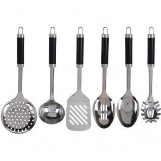Küchenzubehör mit schwarzem Griff, Edelstahl, 7 Elemente - EH Excellent Houseware