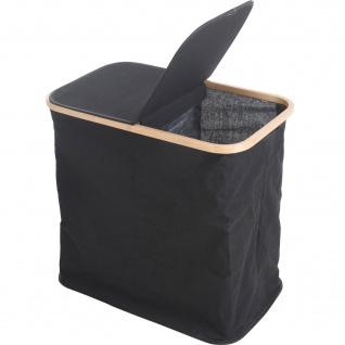 Wäschesack mit Bambusrahmen, 53x50 cm, schwarz - Home Styling Collection