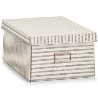 Zeller, Aufbewahrungsbox, Streifen, Pappe, Beige - Vorschau 1