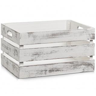 Aufbewahrungsbox, Holz VINTAGE WHITE , 39 x 29 x 21 cm, ZELLER