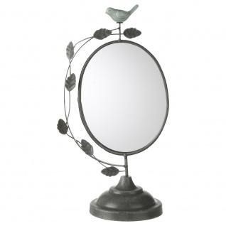 Deko Spiegel Oval mit einem Vogel und Flugblättern, Standspiegel, H: 38 cm