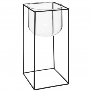 Glasvase mit Metallständer, Ø 17 x 39 cm