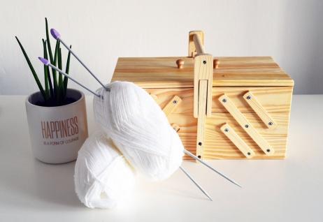 Neu NÄhbox Klappbar - 5 Fächer Nähkästchen Holz Nähkiste Nähkasten - Vorschau 5