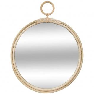 Spiegel, Rattan, rund, Durchmesser 38 cm, beige