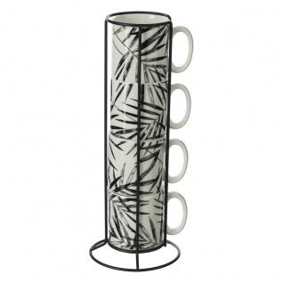 Tassen mit Ständer, 4er-Set, Keramik, 240 ml, Pflanzenmuster
