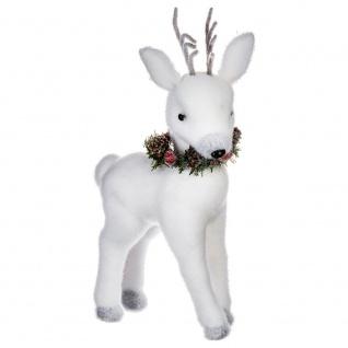 Weihnachtsfigur mit Hirschmotiv im Schal, weiß, 45 cm - Fééric Lights and Christmas