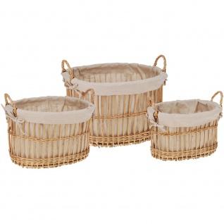 Oval Weidenkorb zum Waschen - 3 Stück im Set