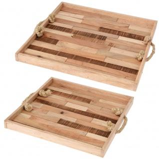 Home Styling Collection Serviertablett Aus Holz, 2er Set - Vorschau 1