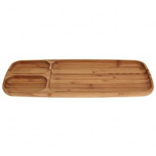 Serviertablett aus Bambu, Tablett für Snacks 39x16x2 cm - 3 Fächer
