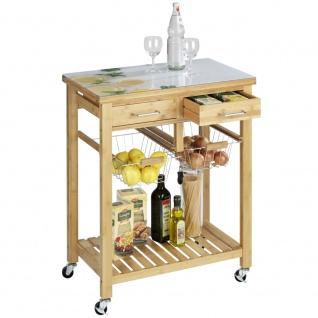 FRESCO Küchenwagen mit Glasplatte, Bambus Radablage mit 2 Körben und 2 Schubladen - 69 x 88 x 40 cm, WENKO