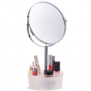 ZELLER, Kosmetikspiegel mit Organizer, Metall, transparent, 14 x 14 x 34.5 cm
