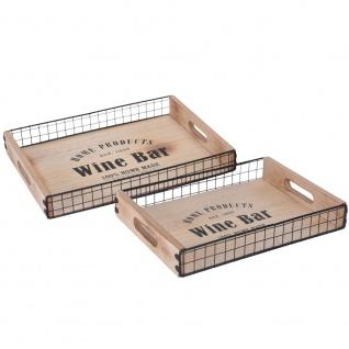 Serviertablett, dekorative Schalen WINE BAR - 2 Stück, Holz, Metall 40 x 30 cm