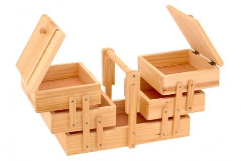 Neu NÄhbox Klappbar - 5 Fächer Nähkästchen Holz Nähkiste Nähkasten - Vorschau 2