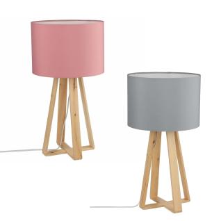 Tischleuchte mit Holzrahmen und Lampenschirm aus Stoff, eleganter Lichtpunkt- Atmosphera Créateur d'intérieur