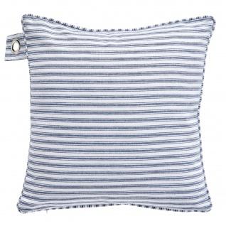 Deko-Kissen mit Griff LE CAP, 40 x 40 cm, weiß-blaue Streifen