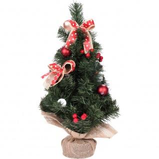 Künstlicher Weihnachtsbaum auf dem Stamm, mit Dekorationen und Zapfen, 44 cm - Home Styling Collection