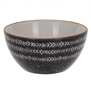Salatschüssel aus Keramik, Ø11 cm, schwarz mit Pfeilmuster