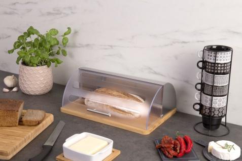 Brotkasten Bkasten Brotdose mit Rolldeckel transparent Bambus Edelstahl 27 x 39 x 15 cm