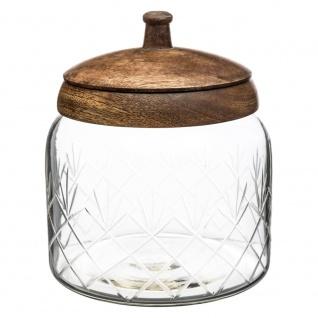 Glas mit Holzdeckel, edle Bonbondose - 14 x 16 cm, SECRET de GOURMET
