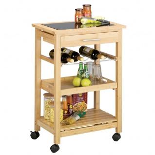 ZELLER Küchenrollwagen, Bamboo / Glas-Top