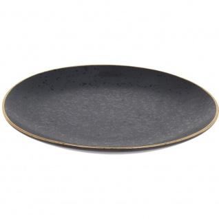 Deko-Teller, Obstetagere, Servierplatte Ø20 cm, schwarz mit goldenem Rand