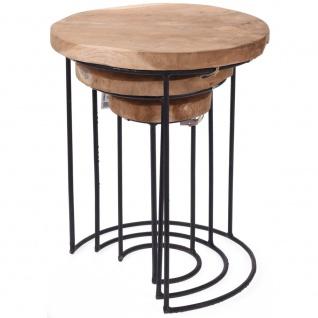 Home Styling Collection, 3x Tisch aus natürlichem Teakholz - rund, Kaffee, Design