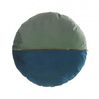 Kissen mit abnehmbarem Bezug, Kompression (0), 45 cm, Velours, Blau/Grün - Douceur d'intérieur