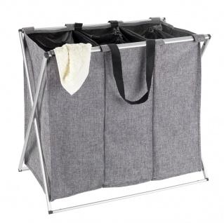 TRIO Wäschekorb mit Stahlrahmen, klappbarer dreiteiliger Wäschekorb - 130 L, 59 x 57 x 38 cm, WENKO