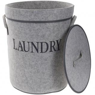 Wäschekorb, rund, mit Deckel, Filzbehälter, schwarz