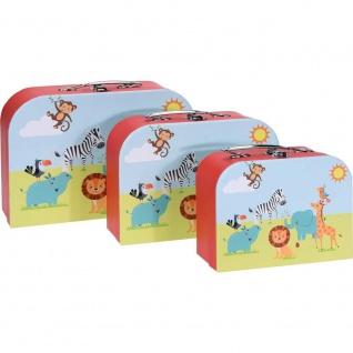 Set von Kinder-Koffern mit bunten Tieren, 3 ideale Boxen zur Aufbewahrung von Spielzeug