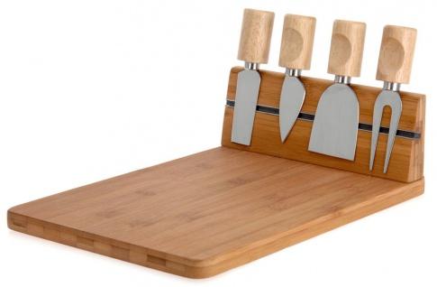 Käsebrett aus Bambus + 4 Messer Schneidebrett Käseplatte