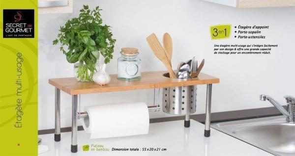 Secret de Gourmet, 3in1 Küchenregal, Bambus, Edelstahl - Vorschau 4